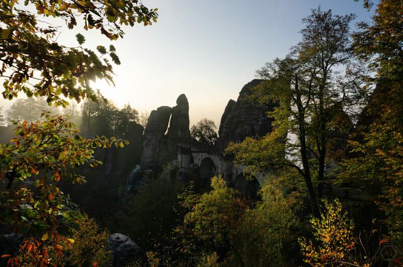 die Bastei im Sonnenaufgang