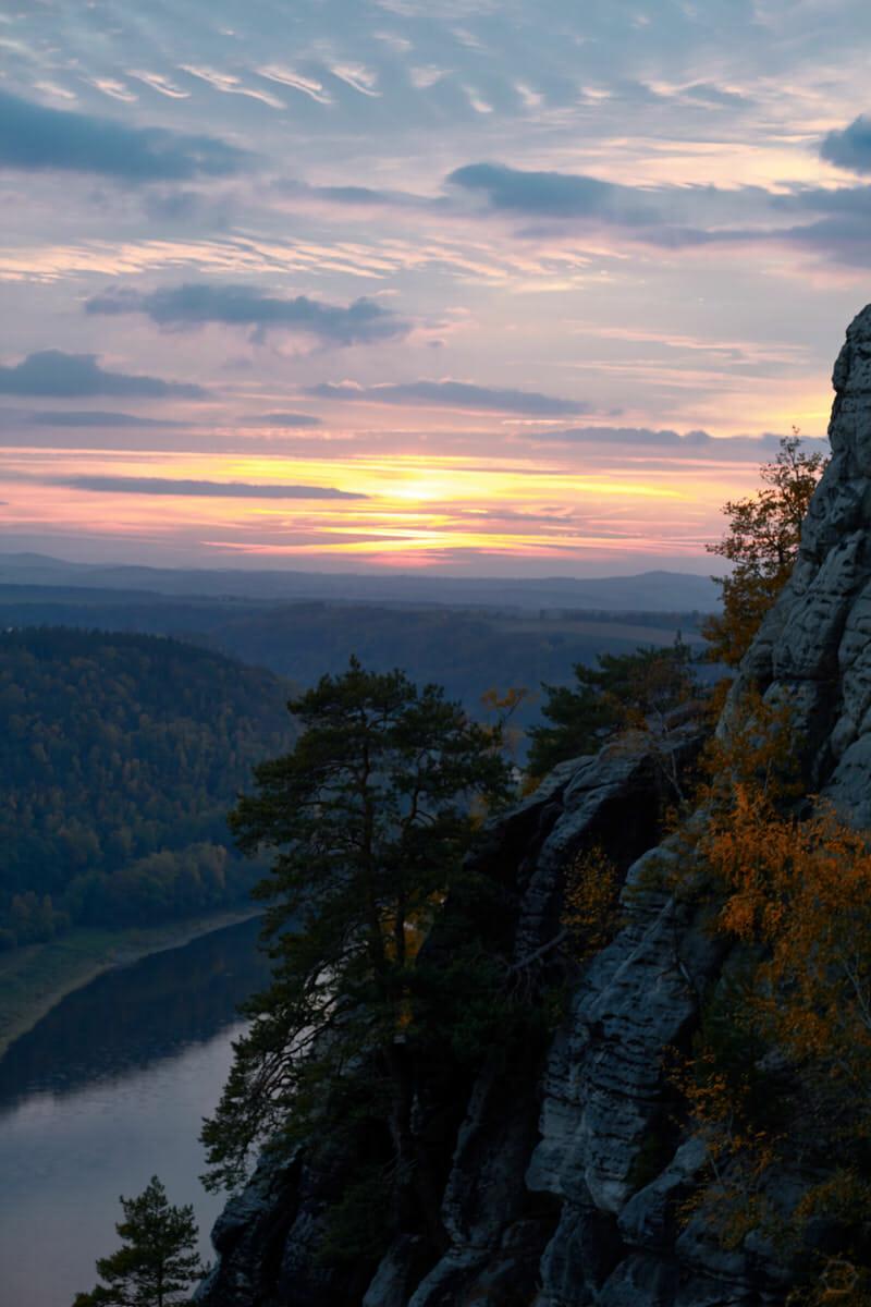 das suchen wir: Sonnenuntergang in der Sächsischen Schweiz