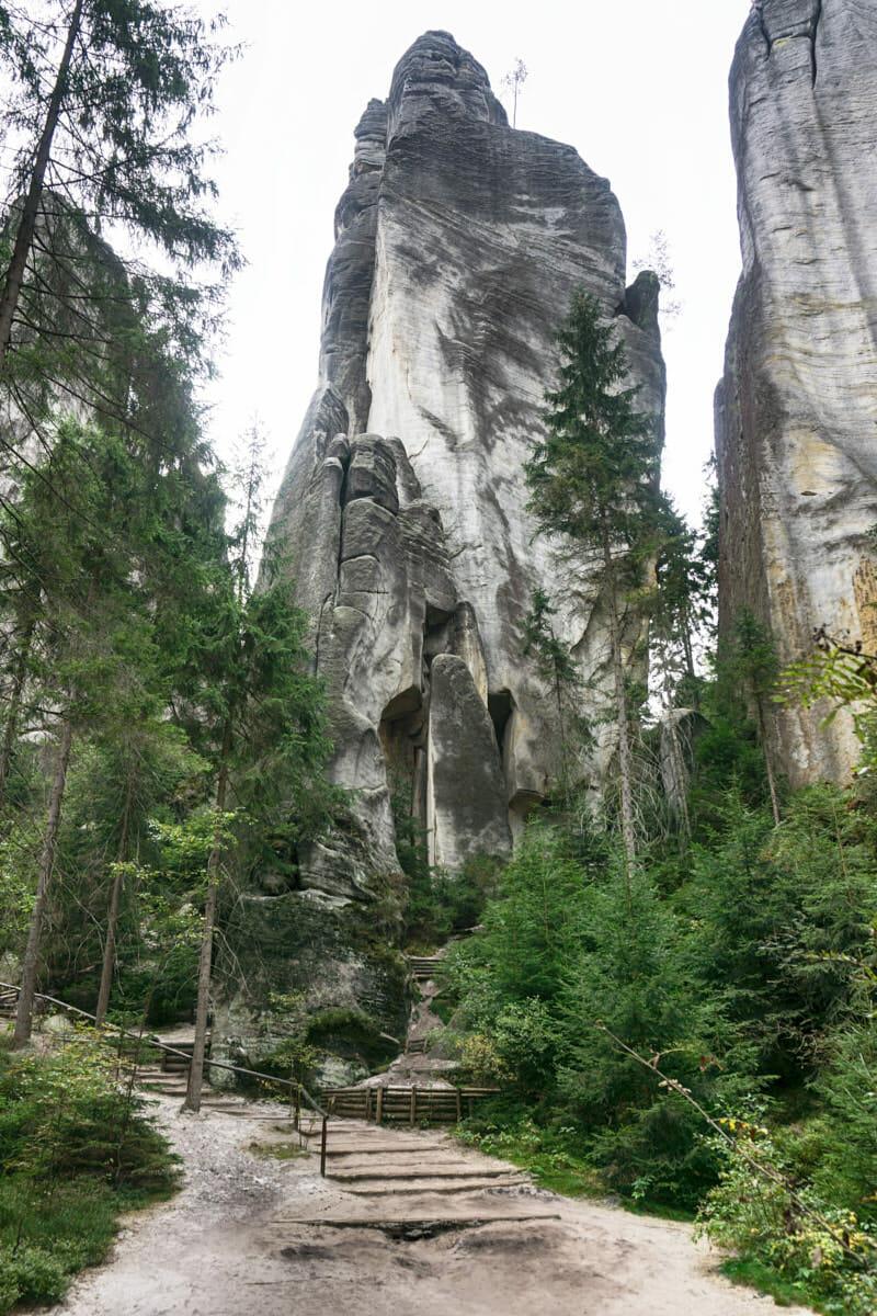 Steile Felsen überragen den Wald
