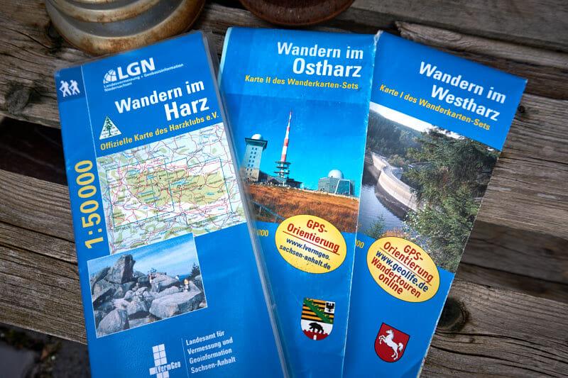 beste Wanderkarte für den Harz: Kartenset Harz LGN